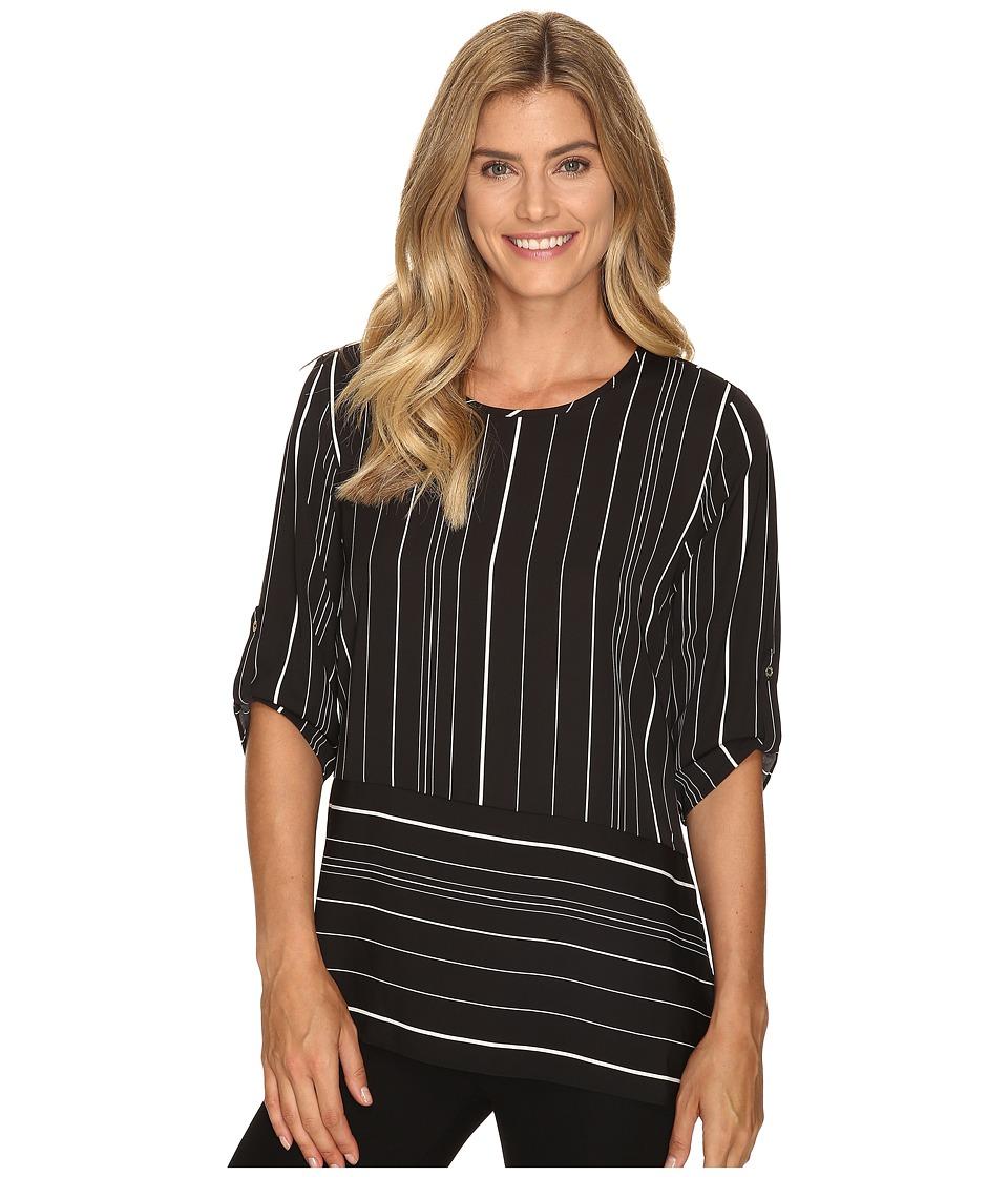 Calvin Klein - Long Sleeve Angle-Bottom Top (Black Multi/Black Ground) Women's Blouse