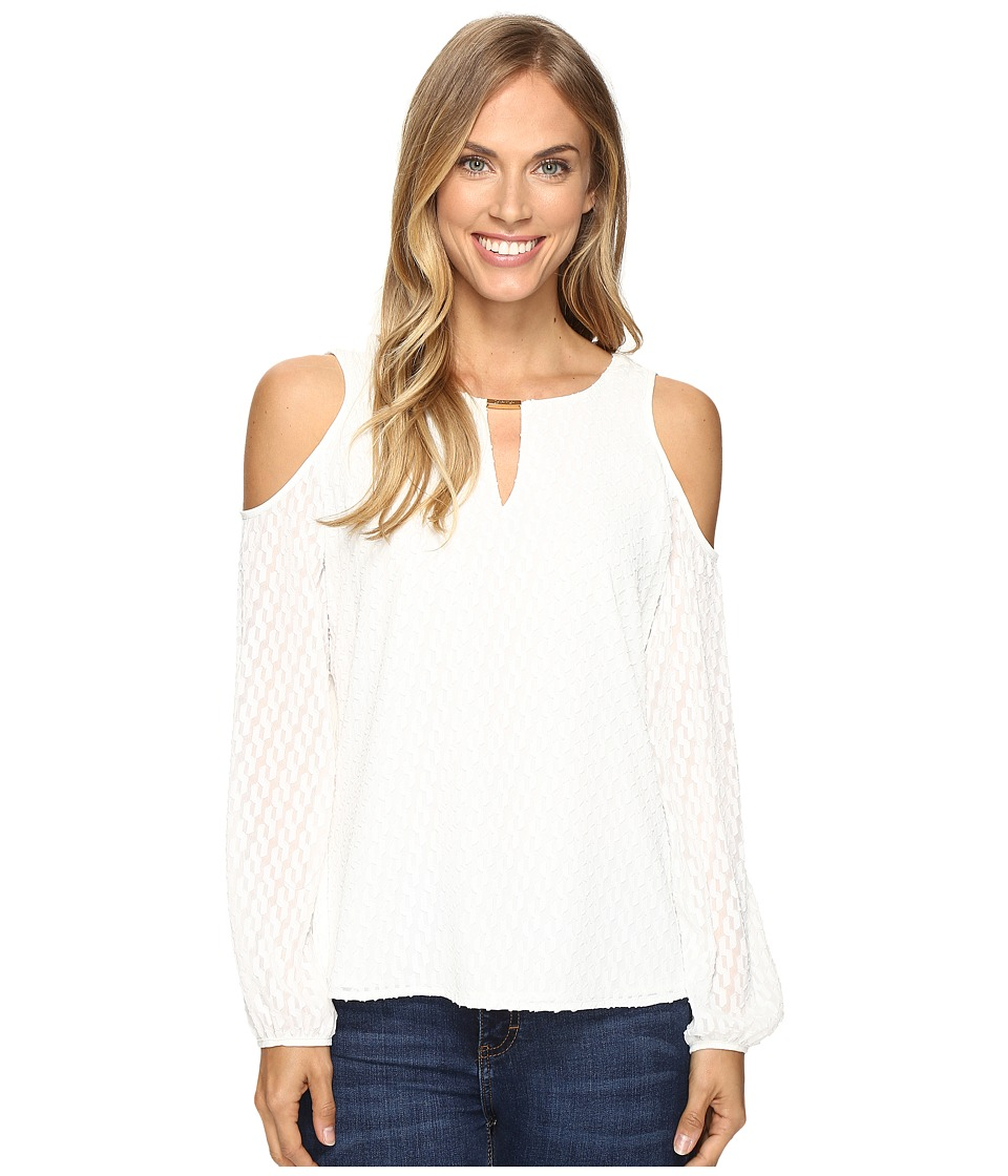 Calvin Klein - Textured Cold Shoulder Top (Soft White) Women's Blouse