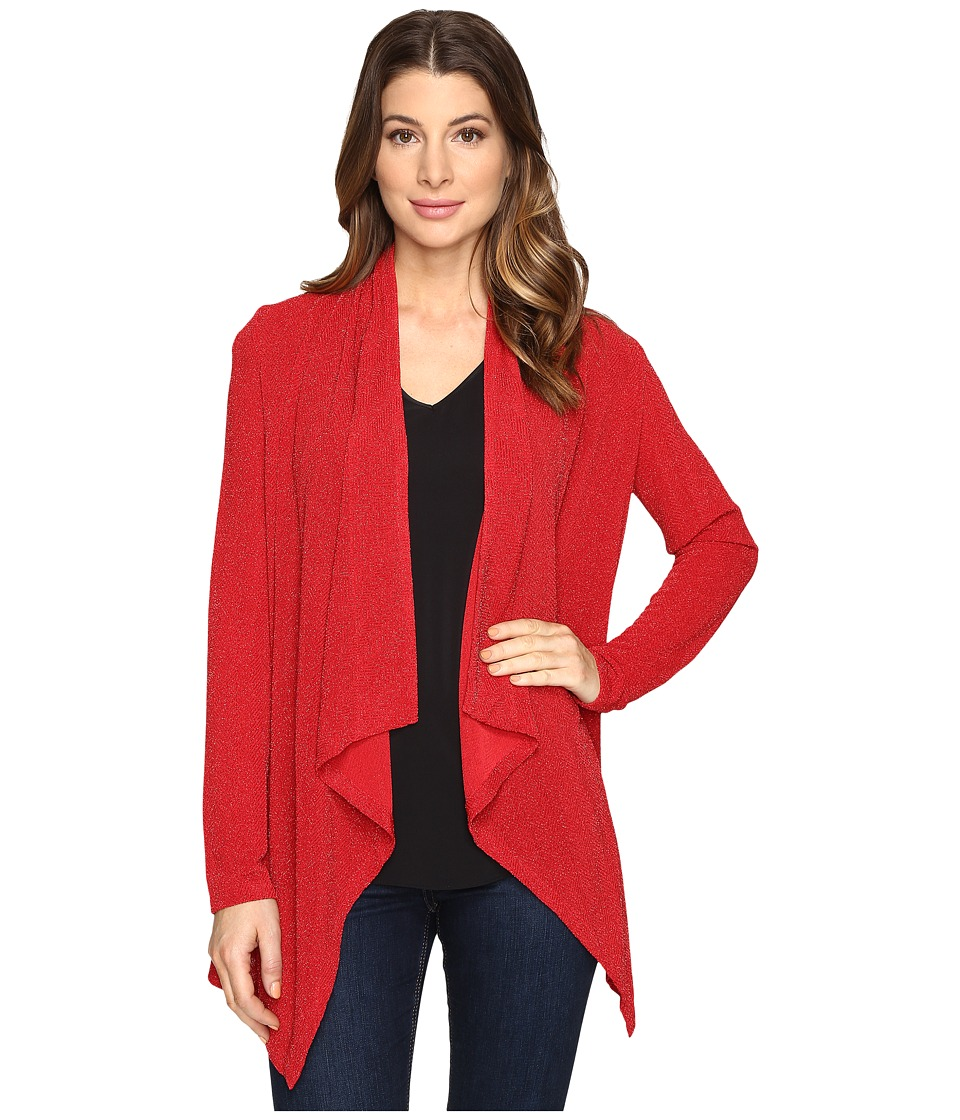 Calvin Klein Lurex Flyaway Knit Long Sleeve (Rouge) Women