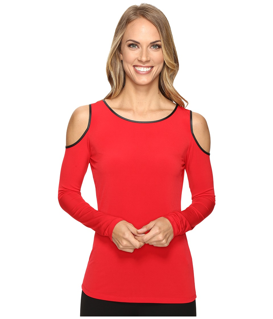 Calvin Klein - Cold Shoulder Top w/ Faux Leather (Rouge) Women's Clothing