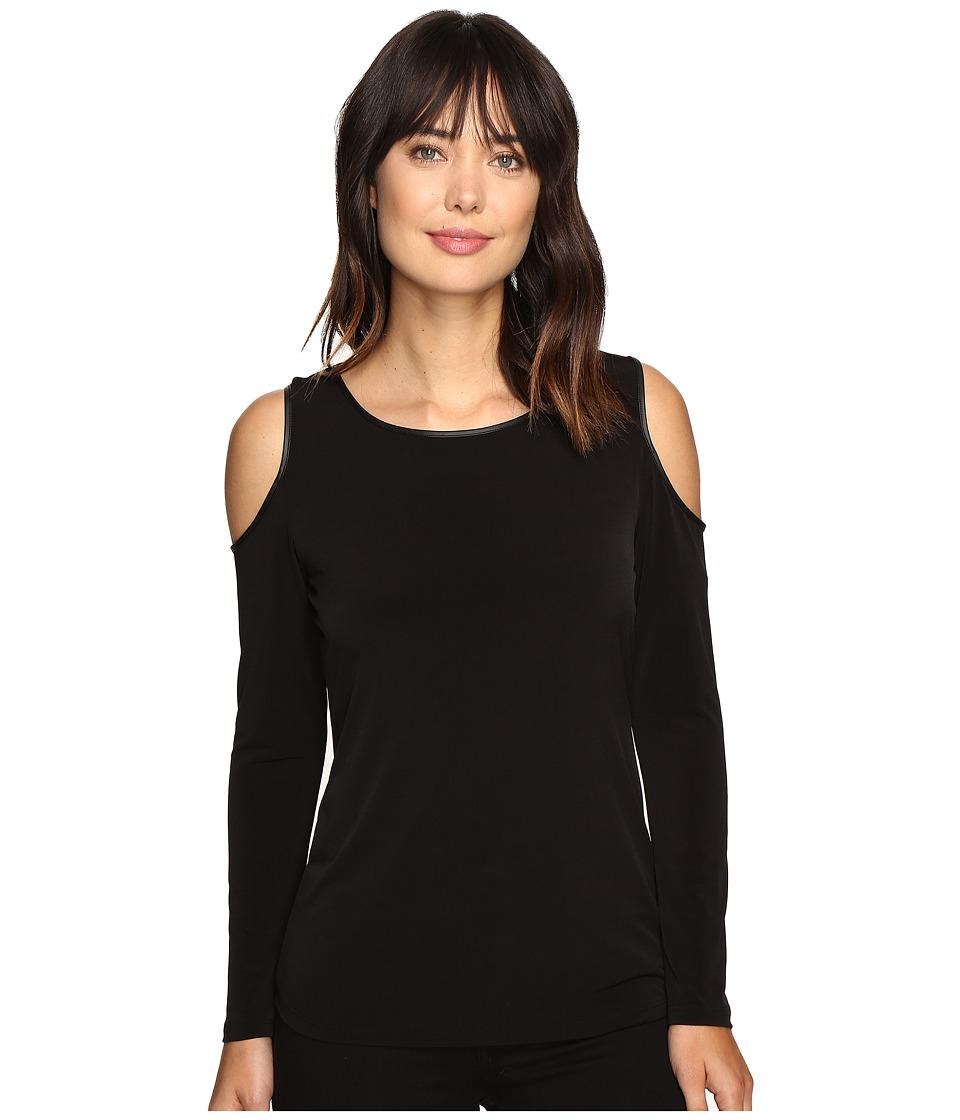 Calvin Klein - Cold Shoulder Top w/ Faux Leather (Black) Women's Clothing