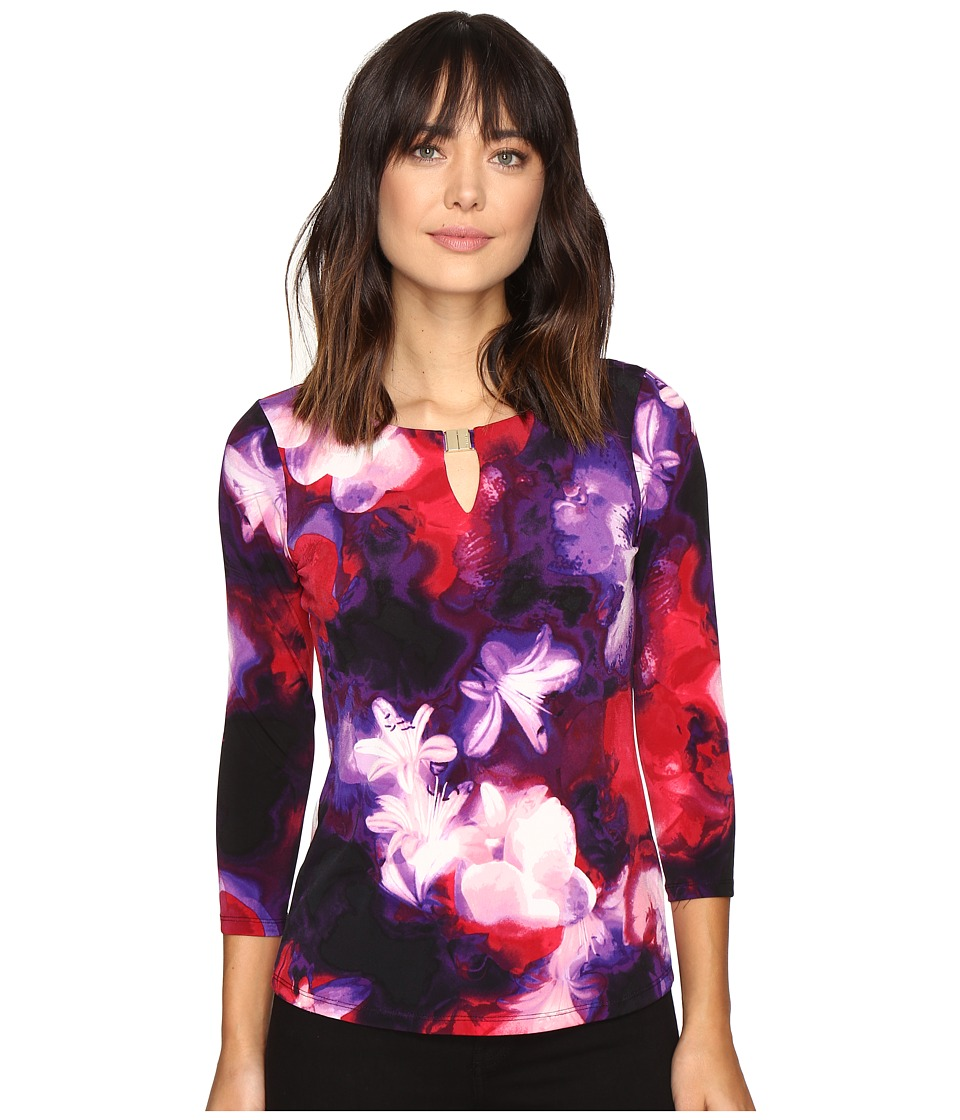 Calvin Klein - 3/4 Sleeve Printed Top (Black/Rouge) Women's Clothing
