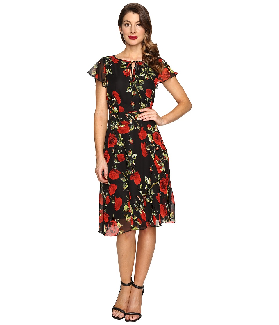 Unique Vintage - Formosa Flutter Sleeve Dress (Black Rose) Women's Dress