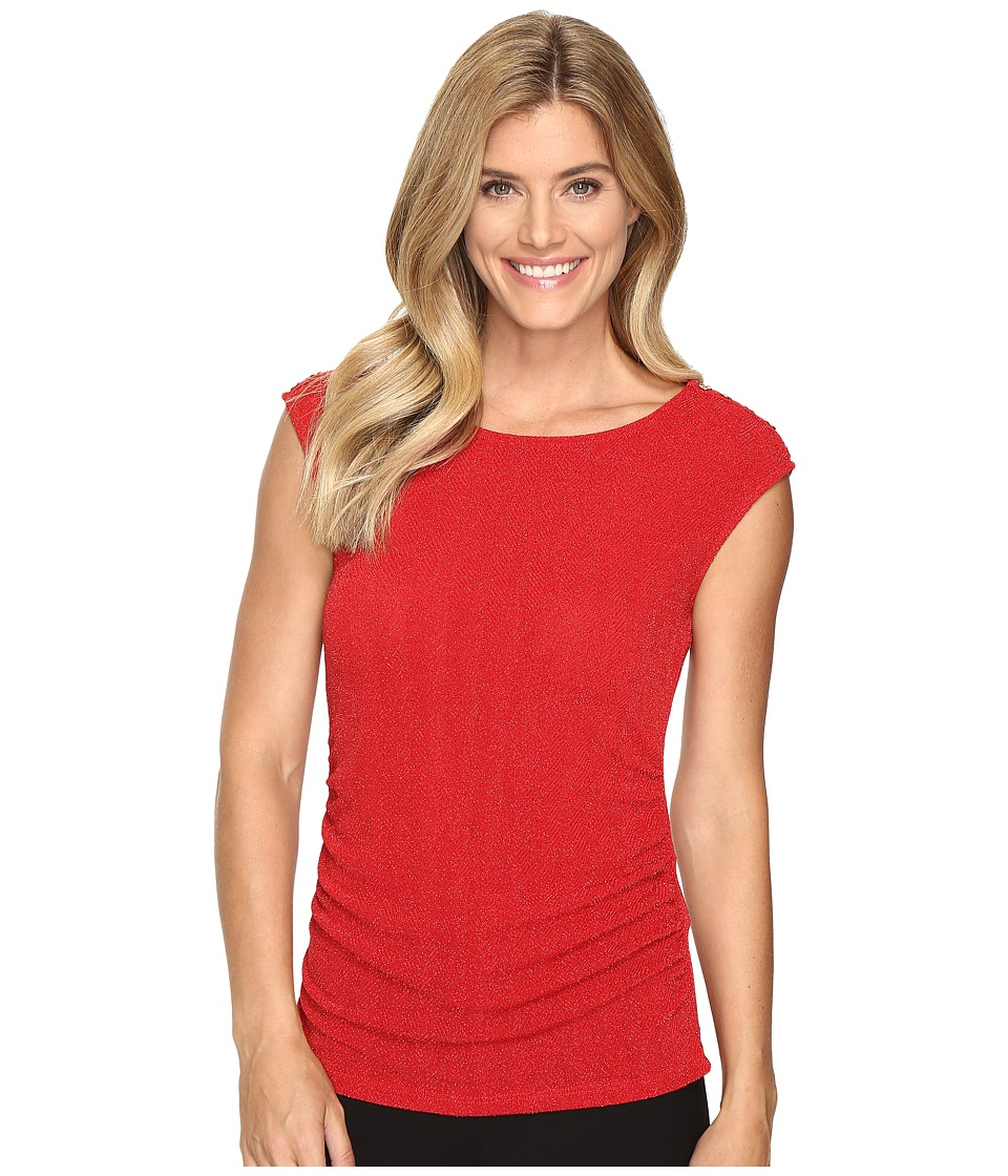 Calvin Klein - Lurex Top w/ Buttons (Rouge) Women's Sleeveless