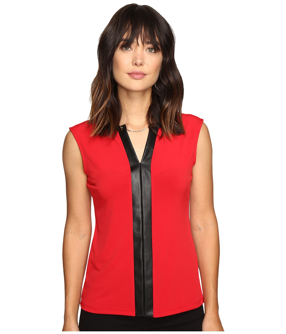 Calvin Klein - Sleeveless Top w/ Faux Leather and Chain (Rouge) Women's Sleeveless