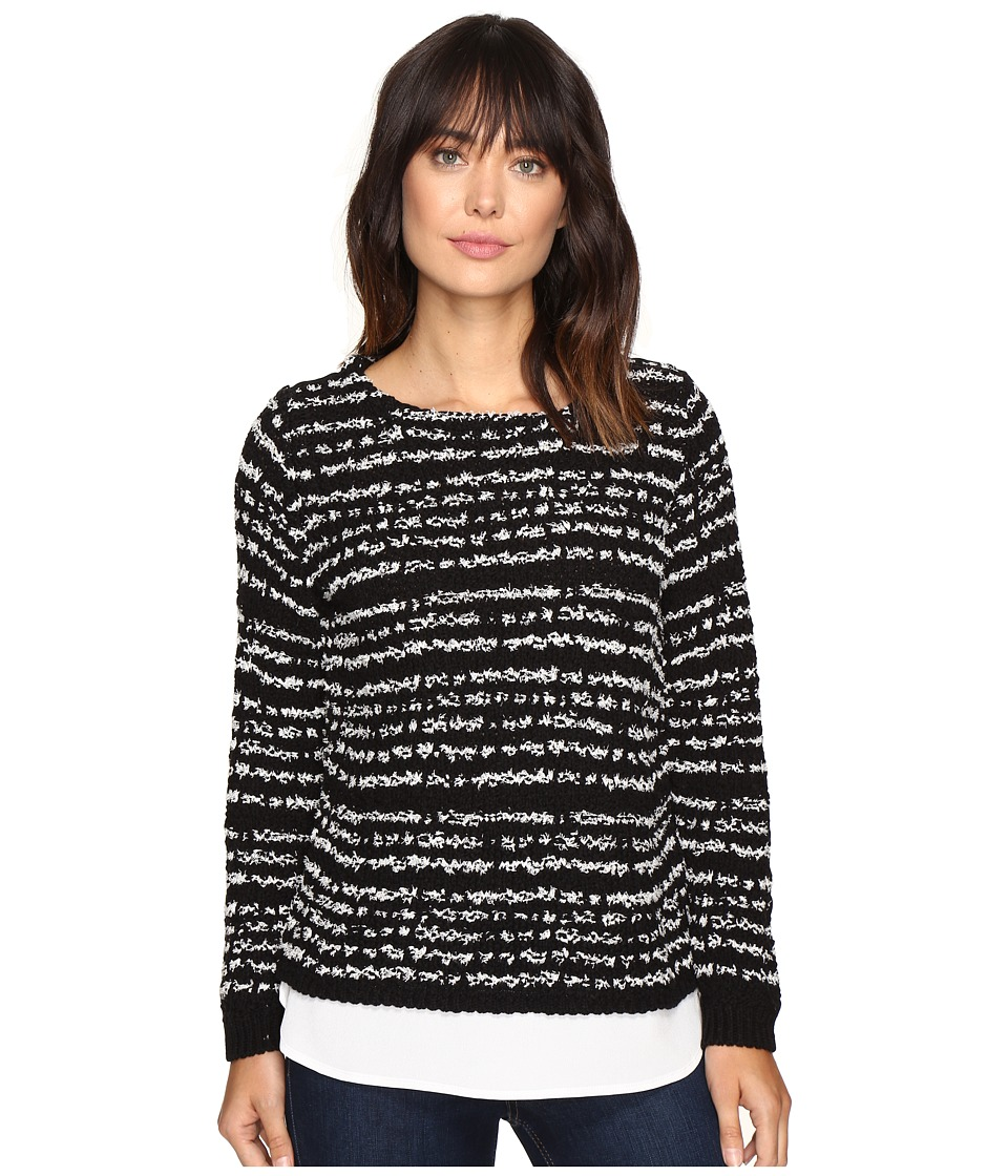 Calvin Klein - Striped Twofer Long Sleeve Sweater (Black) Women's Sweater