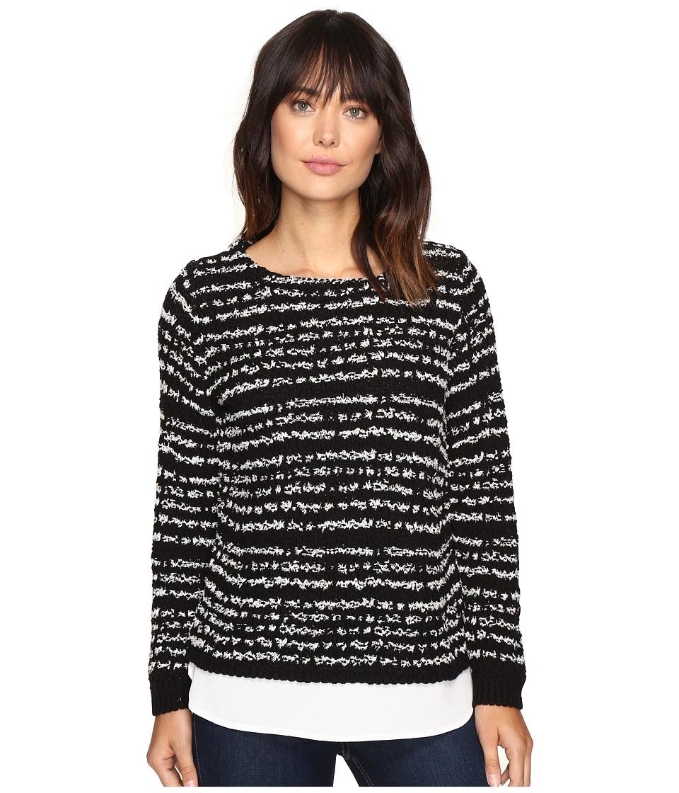 Calvin Klein - Striped Twofer Long Sleeve Sweater (Black) Women's Sweater
