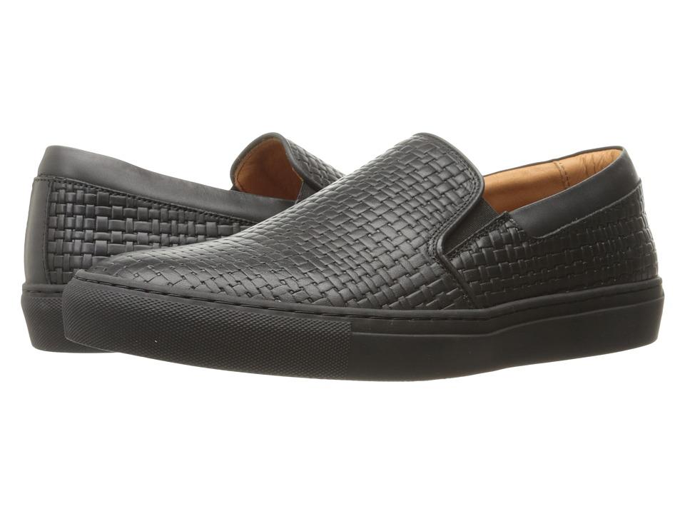 Aquatalia - Anderson (Black Embossed Calf) Men's Slip on Shoes