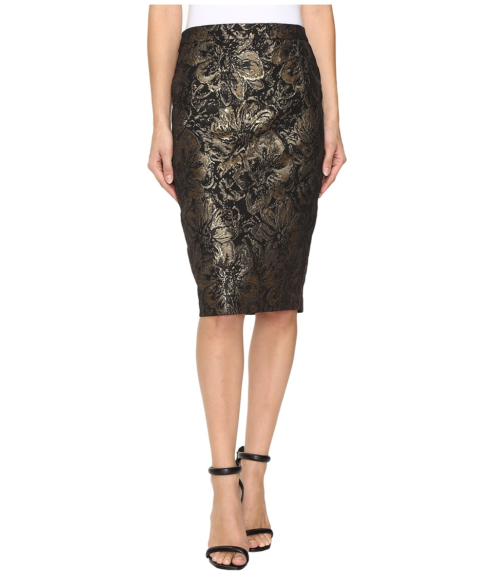 Calvin Klein Metallic Rose Pencil Skirt (Gold) Women