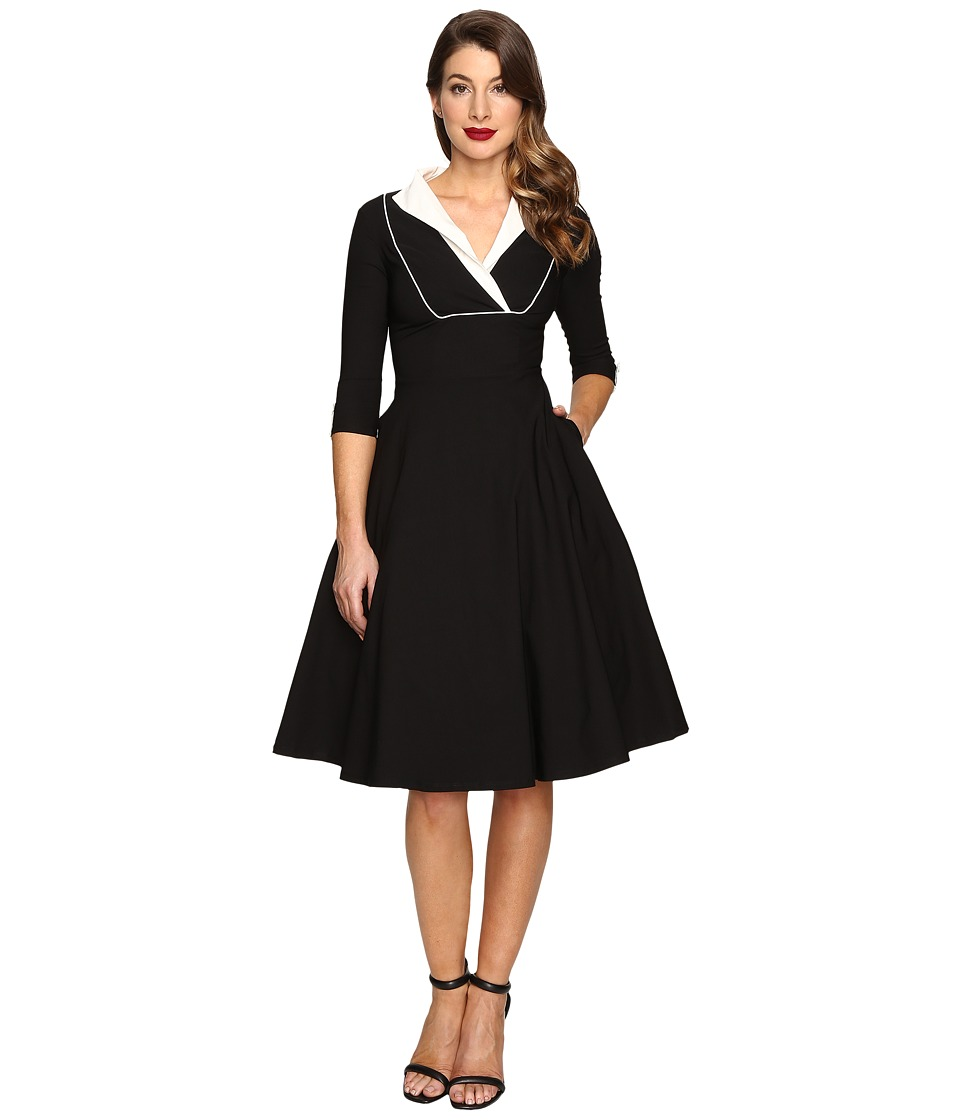 Unique Vintage - Long Sleeve Collared Trudy Swing Dress (Black/White) Women's Dress