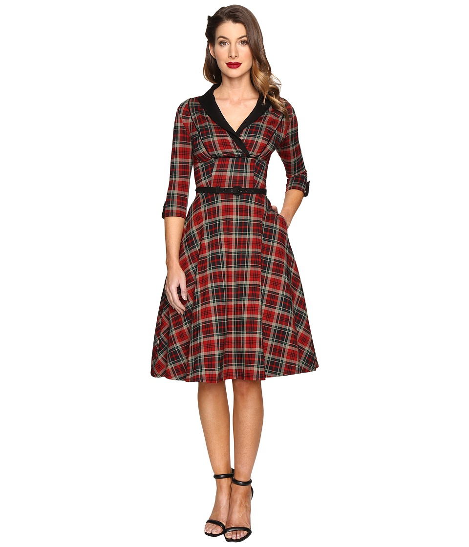 Unique Vintage - Long Sleeve Collared Trudy Swing Dress (Burgundy/Black Plaid) Women's Dress