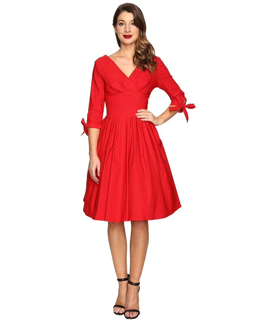 Unique Vintage - 1950s Style 3/4 Sleeve Diana Swing Dress (Red Pin Dot) Women's Dress