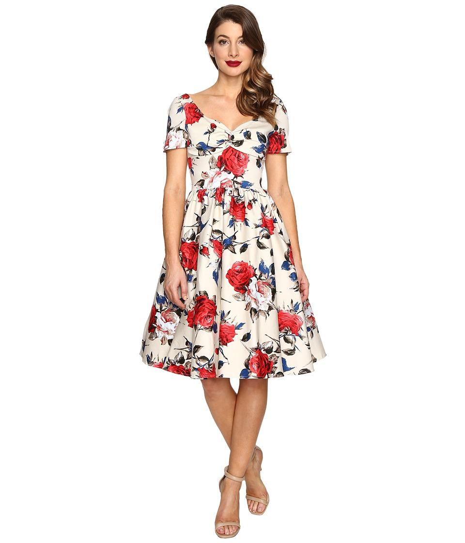 Unique Vintage - Cap Sleeve Stretch Cotton Draper Swing Dress (Cream Floral) Women's Dress
