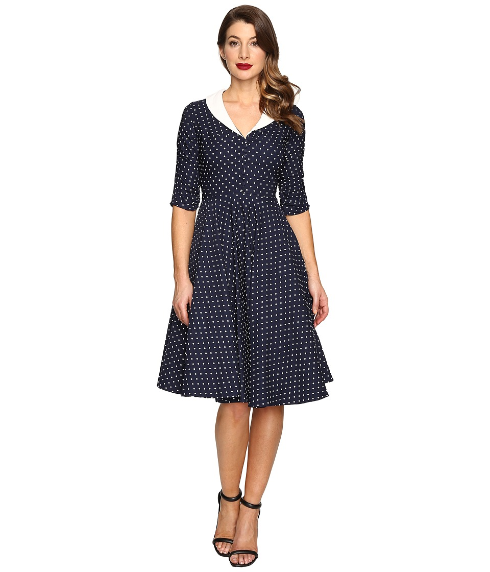 Unique Vintage - 1950s Style Eva Marie Swing Dress (Navy/White Dot) Women's Dress