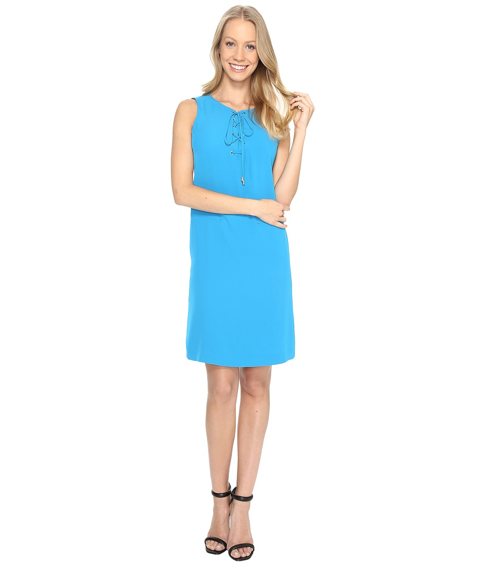 Calvin Klein - Sleeveless Lace-Up Dress (Adriatic Blue) Women's Dress
