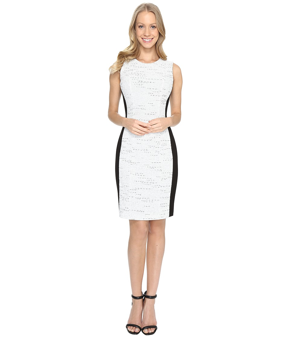 Calvin Klein - Tweed Jacquard Sheath Dress (Soft White) Women's Dress