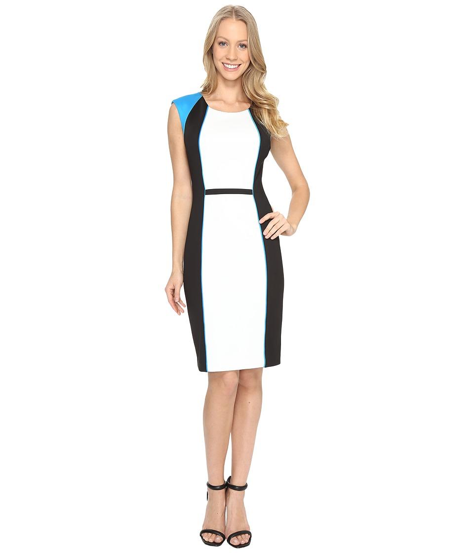 Calvin Klein Blocked Sheath Dress (Adriatic Blue) Women