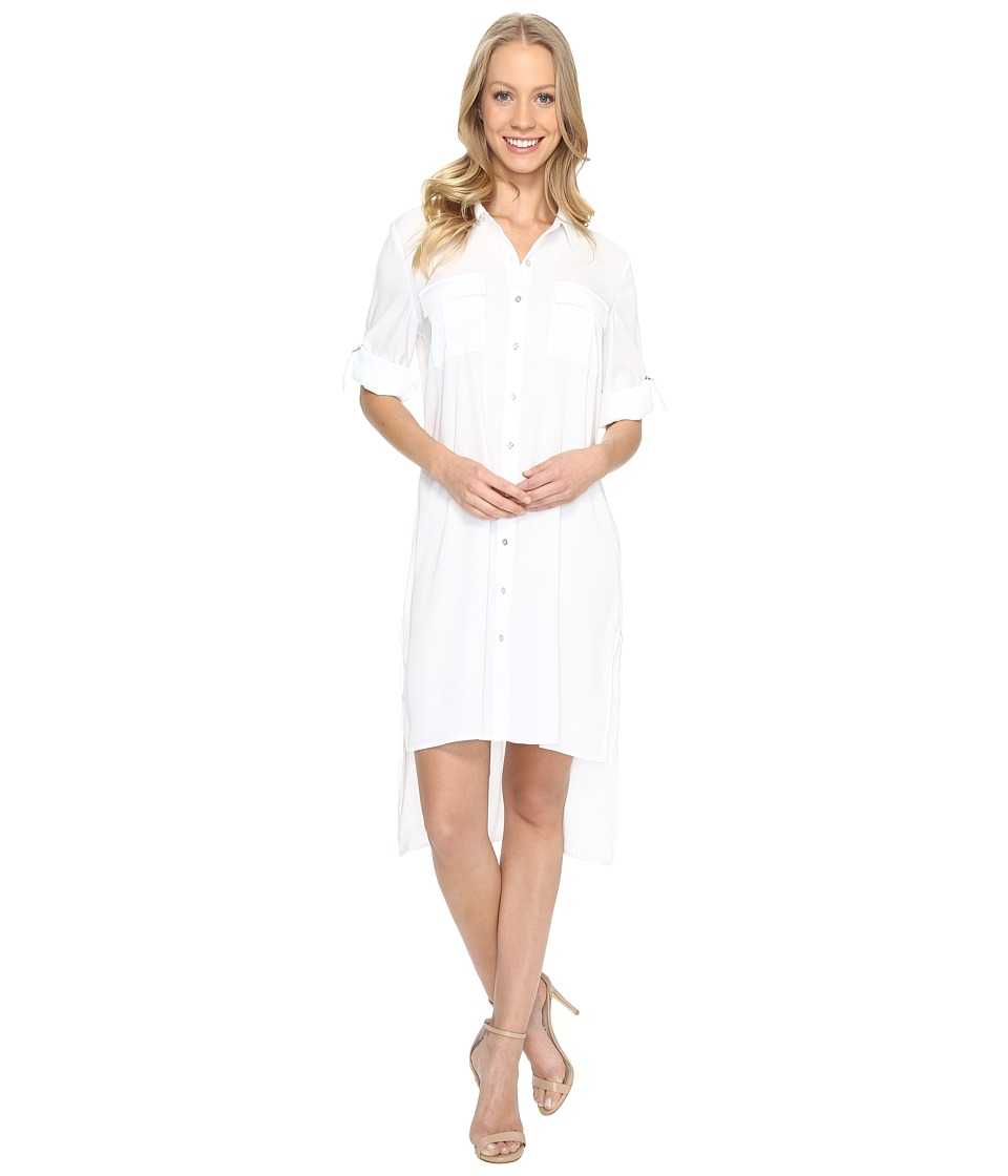 Calvin Klein - Roll Sleeve Tunic Dress (Soft White) Women's Dress