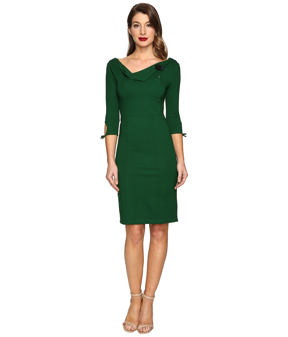 Unique Vintage - 1940s Style 3/4 Carmen Wiggle Dress (Emerald) Women's Dress