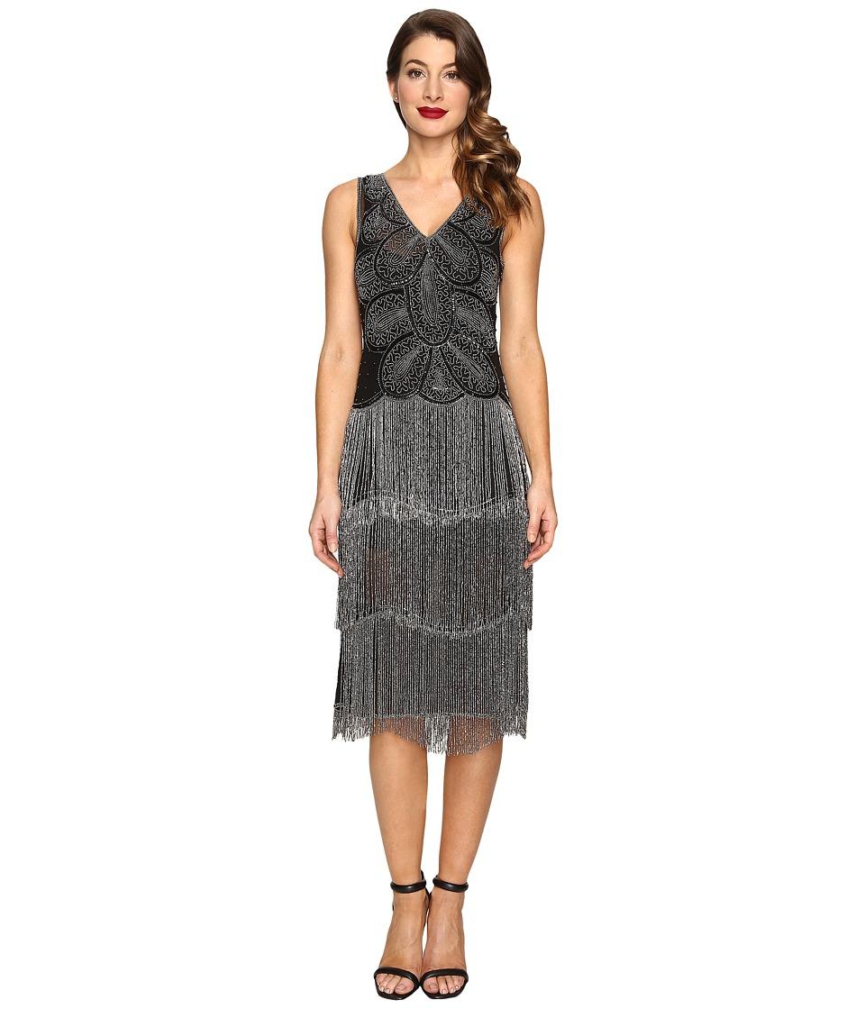 Unique Vintage - Beaded Gigi Chiffon Fringe Flapper Dress (Black/Silver) Women's Dress