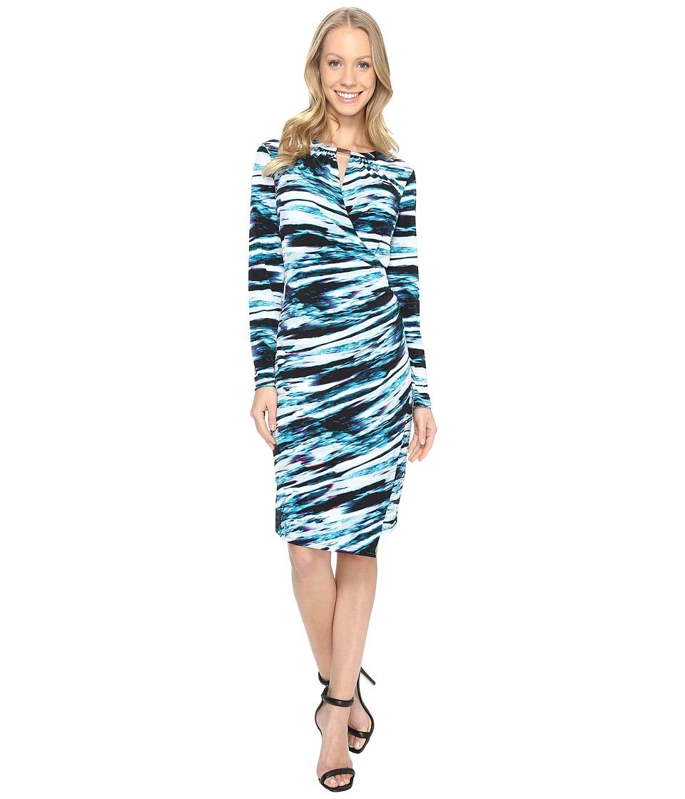 Calvin Klein Printed Wrap Dress w/ Hardware (Cypress/Black) Women
