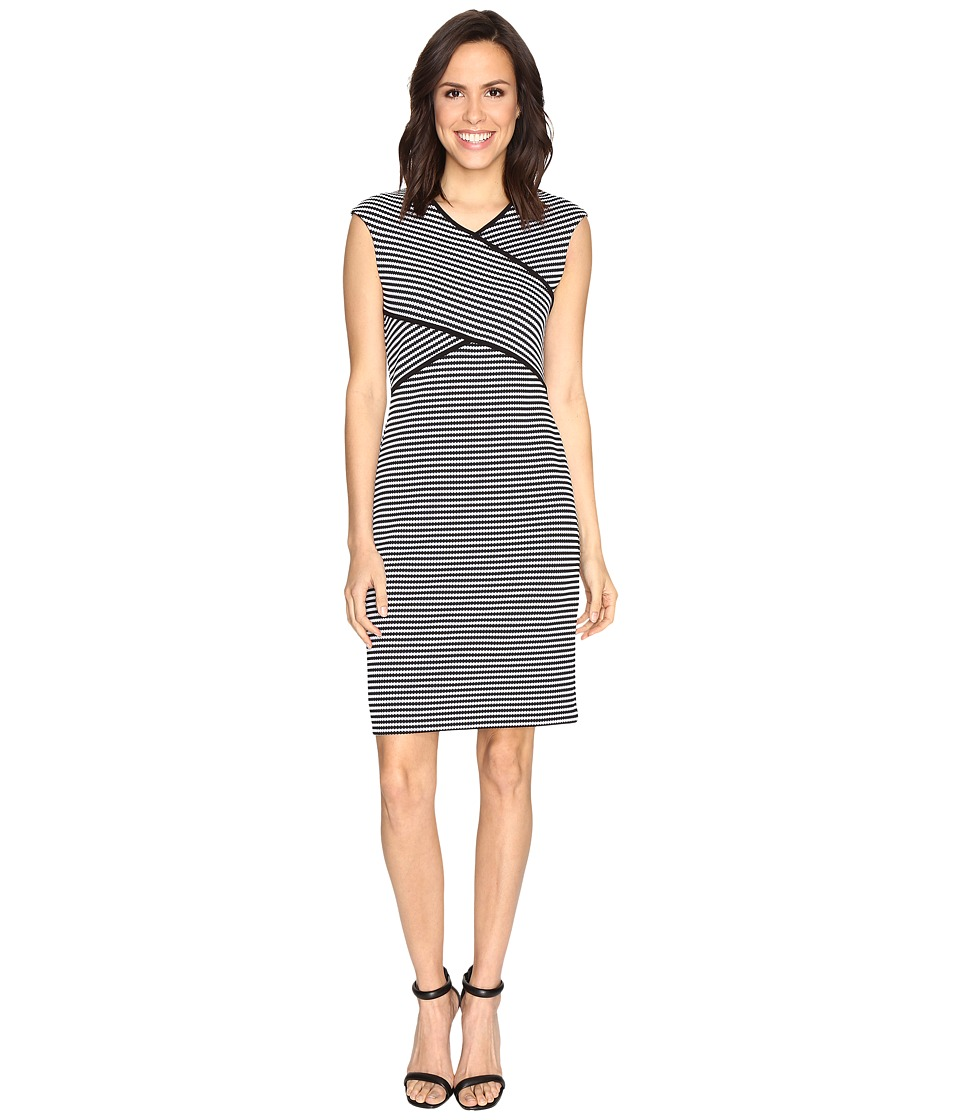 Calvin Klein - Striped Panel Dress (Black/White Stripe/Black/White) Women's Dress