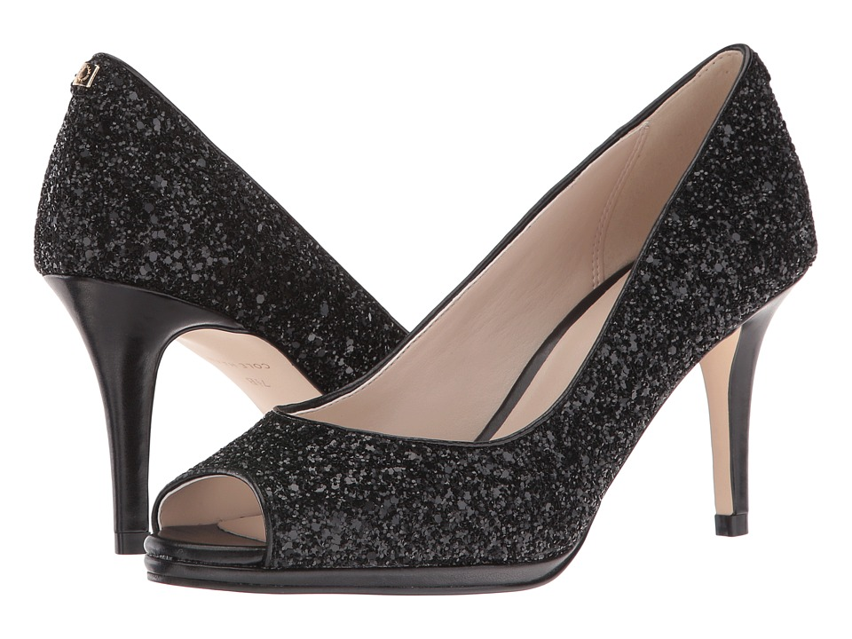 Cole Haan Davis Open Toe Pump 75mm (Black Glitter/Leather) Women