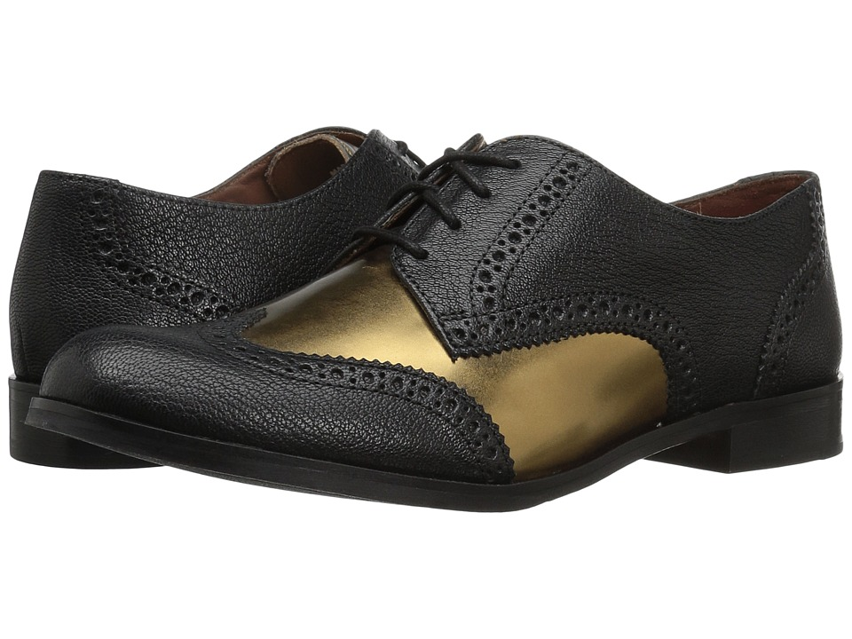 Cole Haan - Jagger Wing Oxford (Black/Gold Leather) Women's Shoes