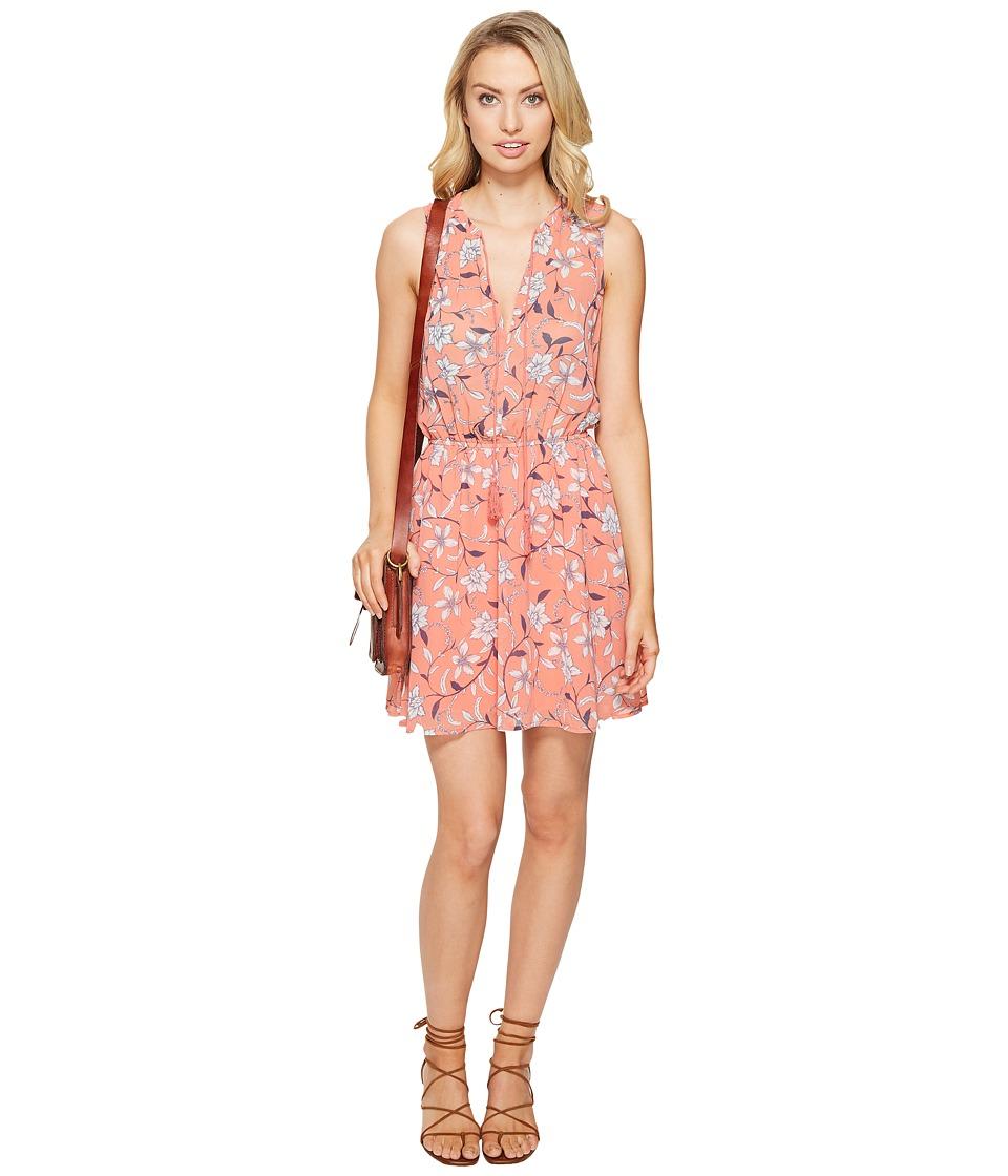 Image of BB Dakota - Adeen V-Neck Print Dress (Cantaloupe) Women's Dress