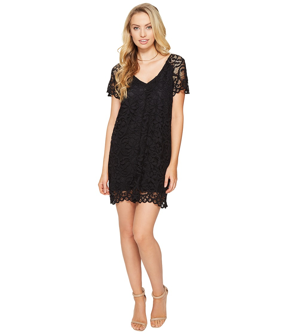 BB Dakota - Rene V-Neck Lace Shift Dress (Black) Women's Dress