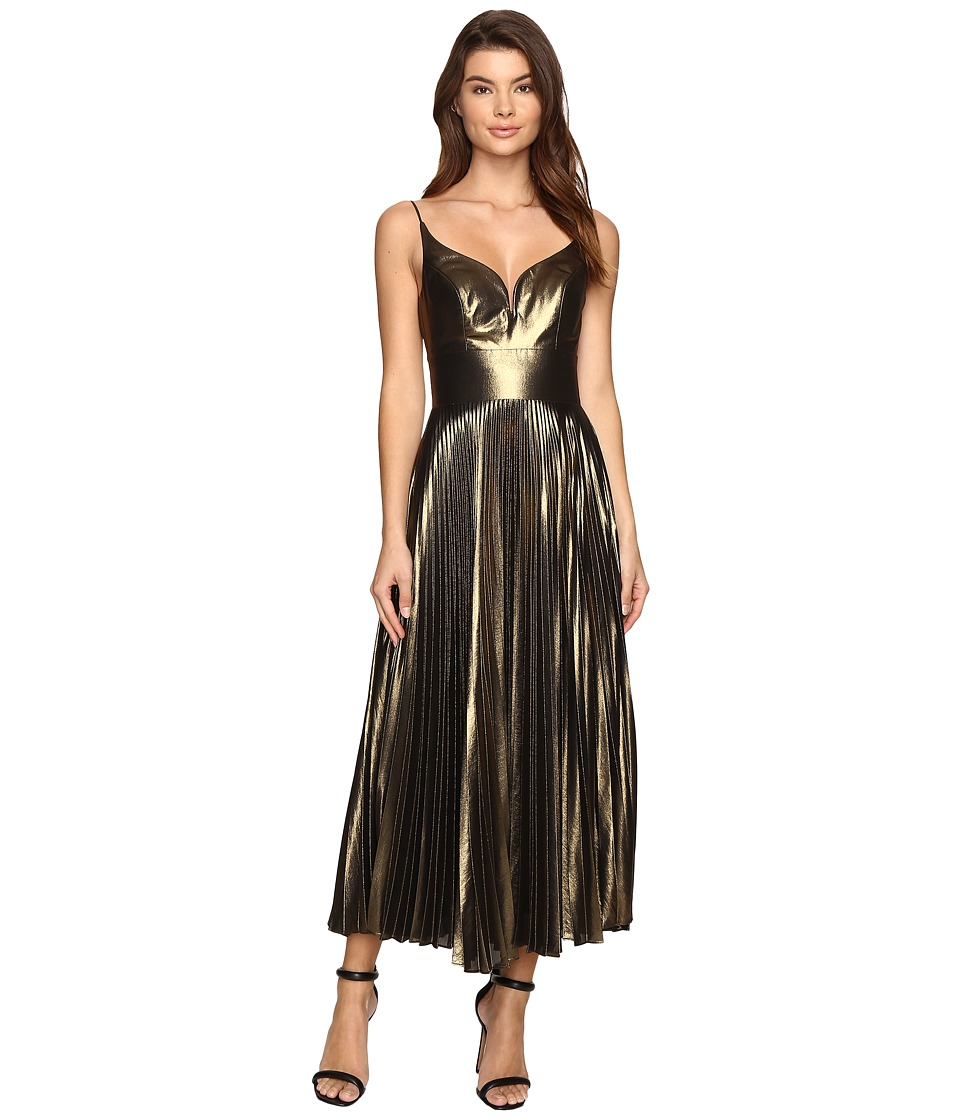 Nicole Miller Disco Lame Sunburst Pleated Dress (Gold) Women
