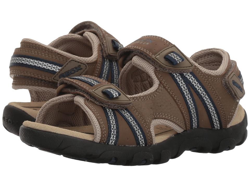 Geox Kids Jr Sandal Strada (Little Kid/Big Kid) (Brown/Navy) Boys Shoes