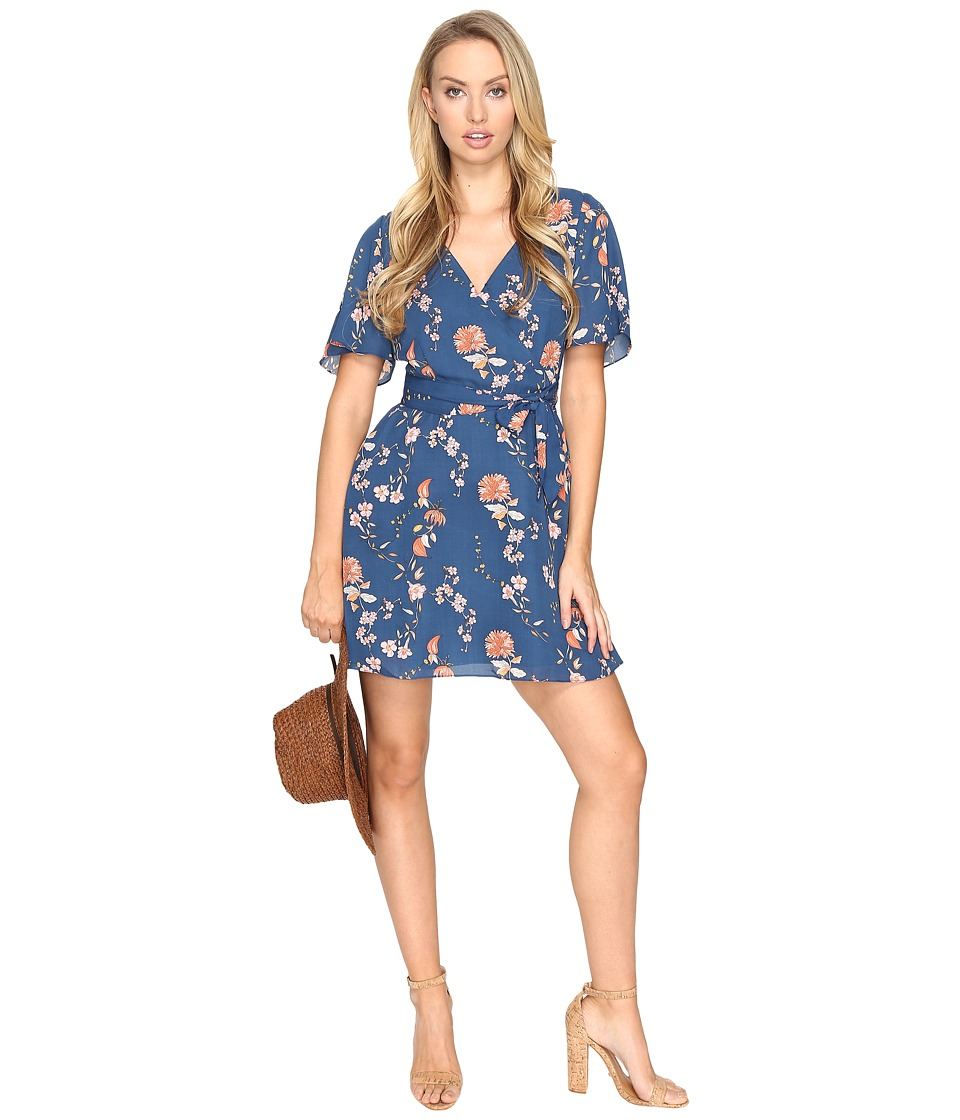 BB Dakota - Laselle Printed V-Neck Dress (Navy) Women's Dress