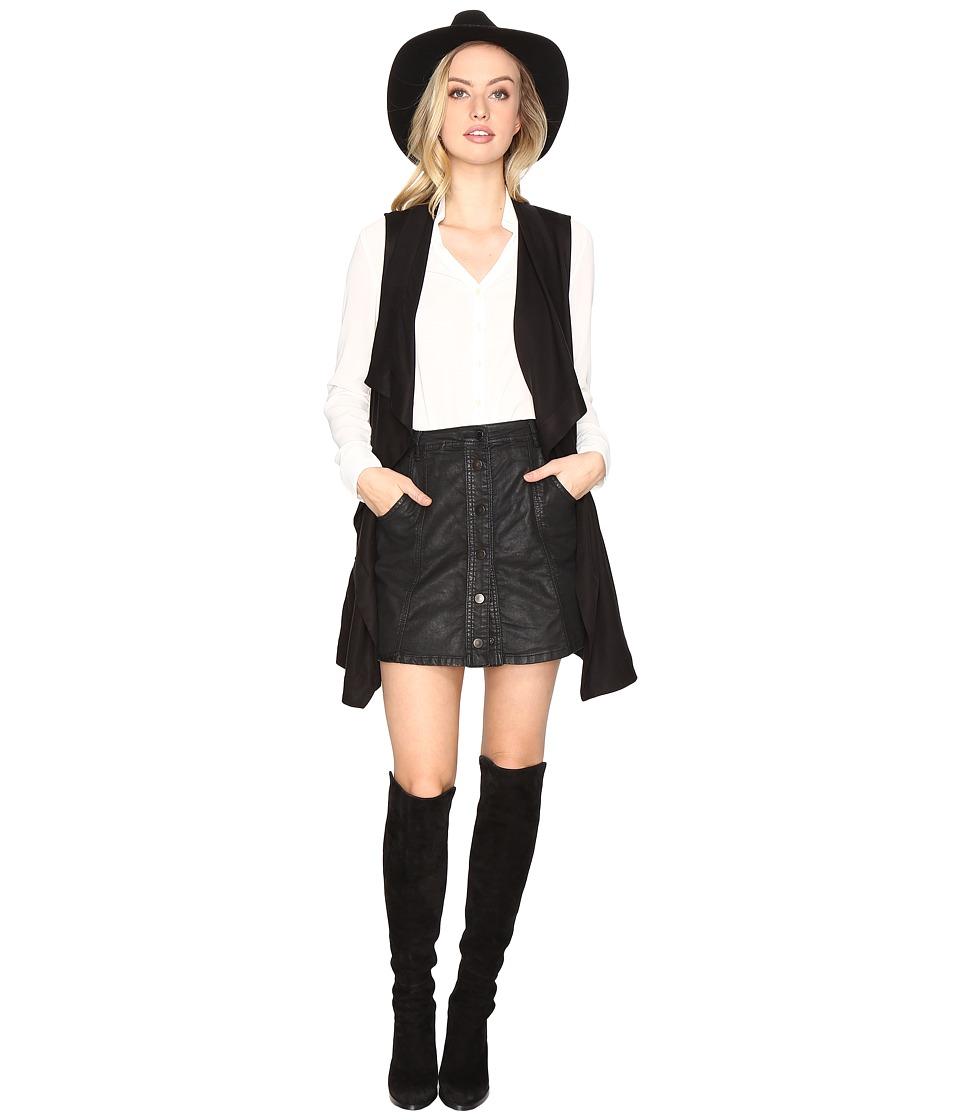 BB Dakota - Hallett Drape Front Vest (Black) Women's Dress