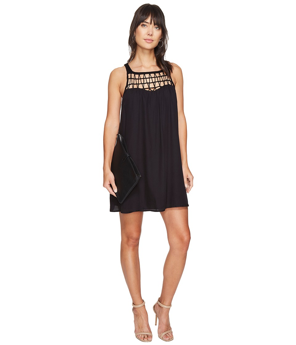 BB Dakota - Astor Crochet Yoke Shift Dress (Black) Women's Dress