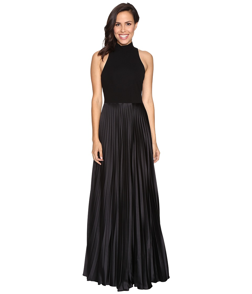 Nicole Miller - Mock Neck Pleated Gown (Black) Women's Dress
