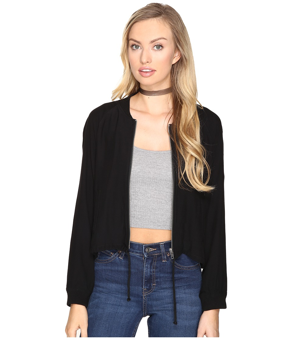 BB Dakota - Troy Cropped Bomber Jacket (Black) Women's Coat
