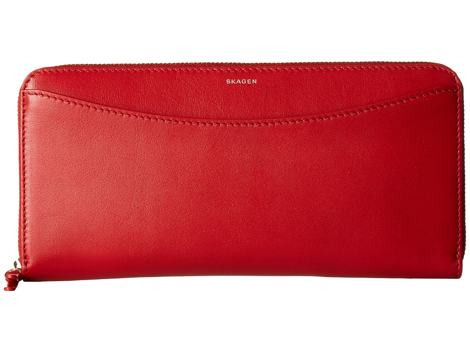 Skagen - Hanne Zip Wallet (Red) Wallet Handbags