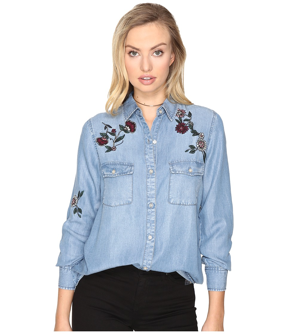 BB Dakota - Trent Embroidered Denim Shirt (Medium Blue) Women's Clothing