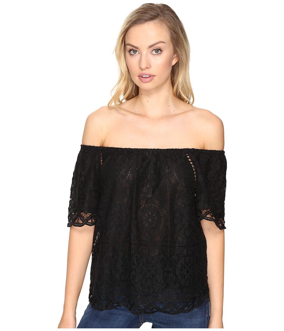 BB Dakota - Curren Lace Off the Shoulder Top (Black) Women's Clothing