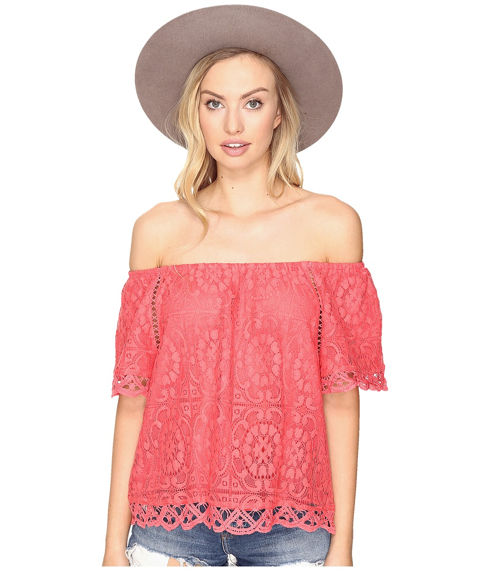 BB Dakota - Curren Lace Off the Shoulder Top (Valentine Red) Women's Clothing