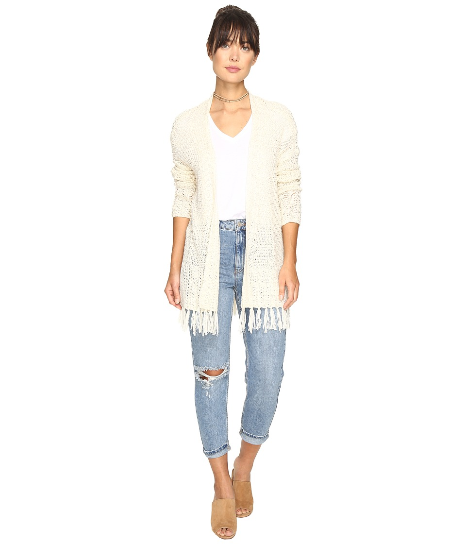BB Dakota - Murray Cardigan with Fringe Trim (Ivory) Women's Sweater