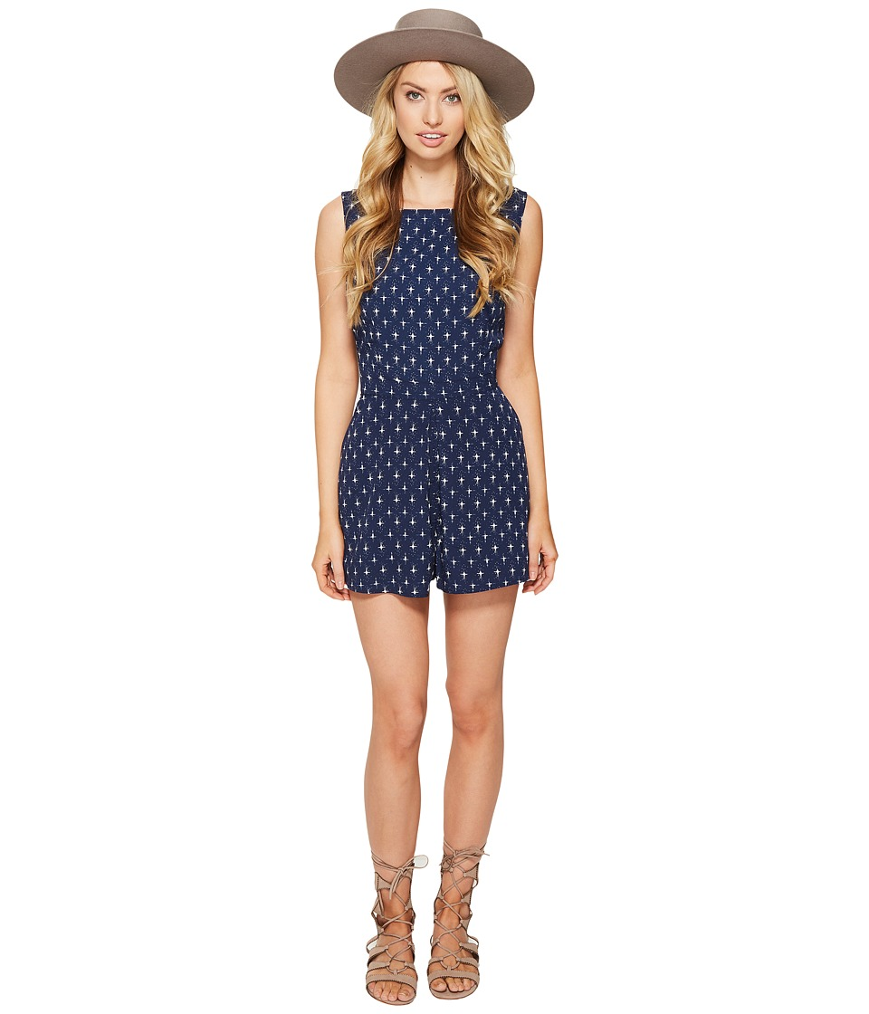 BB Dakota - Noeli Printed Romper (Navy) Women's Jumpsuit & Rompers One Piece