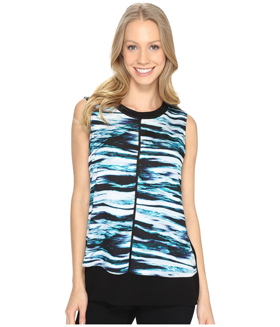 Calvin Klein - Printed Top w/ Ribbed Trim (Cypress/Black) Women's Blouse