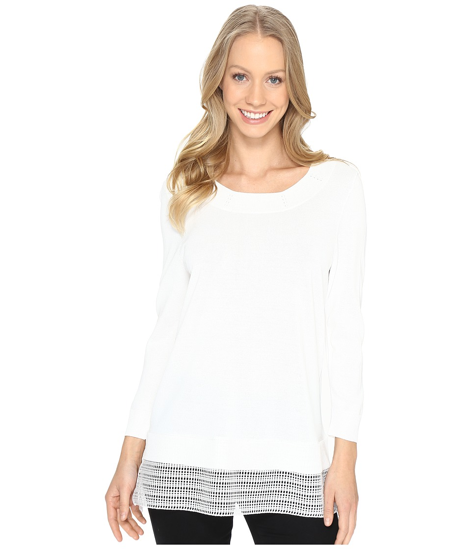 Calvin Klein - Crew Neck Sweater w/ Mesh Hem (Soft White) Women's Sweater