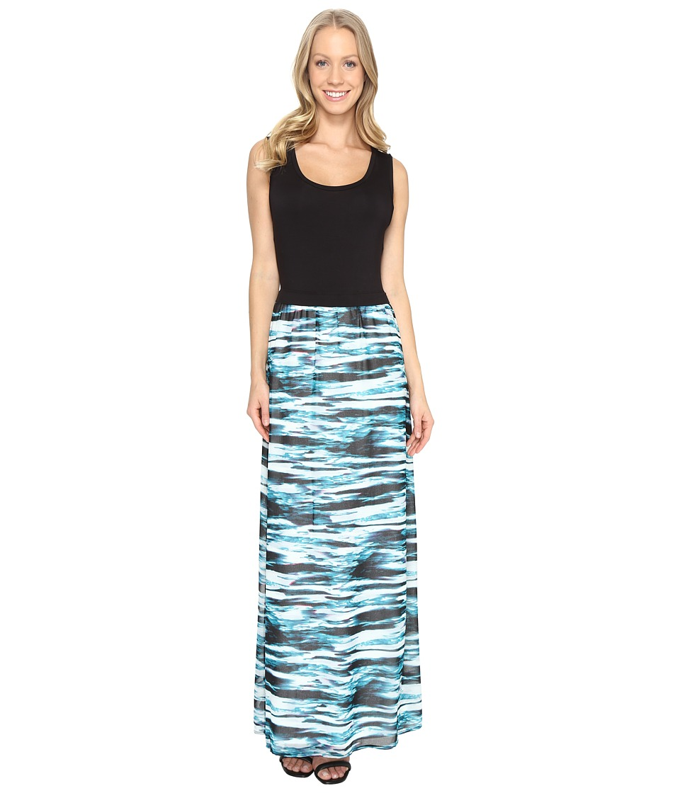 Calvin Klein Maxi Dress w/ Printed Chiffon (Cypress/Black) Women