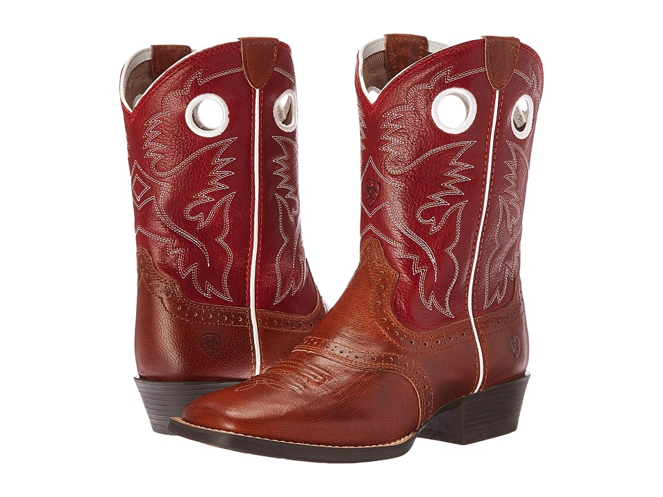Ariat Kids - Roughstock Two-Tone (Toddler/Little Kid/Big Kid) (Tan/Cherry Red) Cowboy Boots