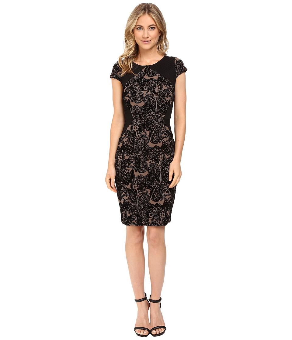 Sangria - Short Sleeve Textured Paisley Sheath (Black/Mocha) Women's Dress