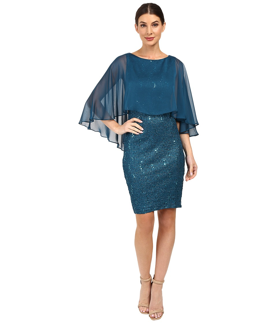 Sangria - Cape Sleeve Sequin Sheath (Teal) Women's Dress