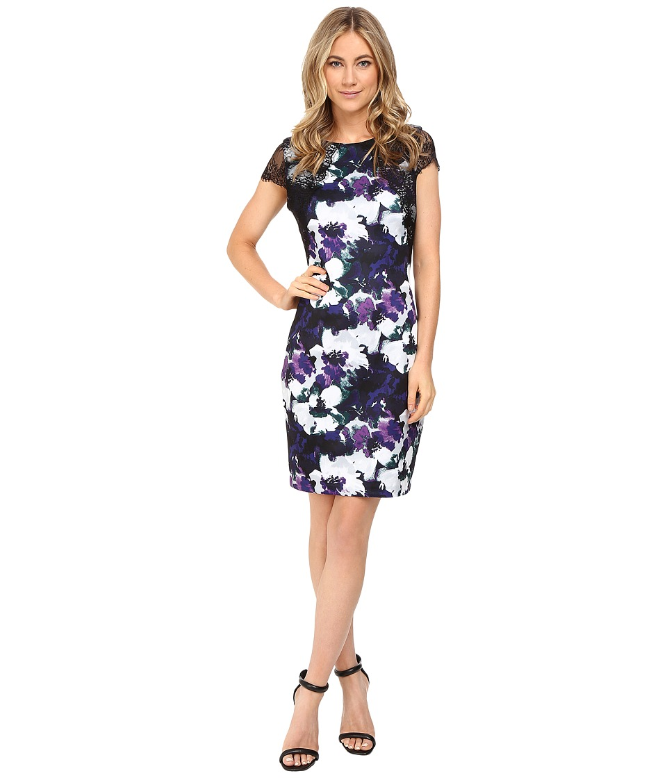 Sangria - Short Sleeve Floral Sheath (Multi) Women's Dress